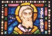stained glass window of Solomon